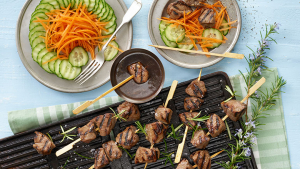 Grilled lamb skewers in Char Siu sauce