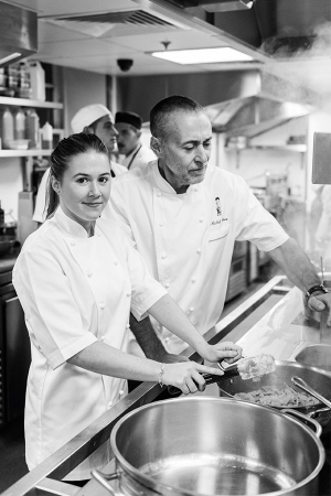 Michel and Emily Roux in the kitchen at Le Gavroche