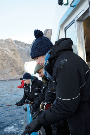 Adam Handling, Jose Souto, Mike Gibson and Michel Roux Jr fishing for Skrei