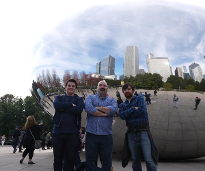Neil Davey and James and Thom Elliott stand in front of Chicago's Cloud Bean