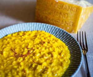 Risotto made with lashings of cream and saffron