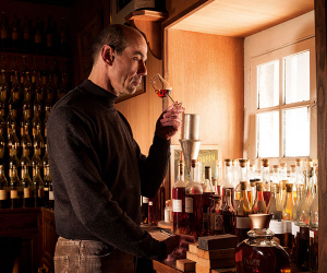 Patrice Piveteau, Frapin's cellar master, noses a glass of the house's cognac