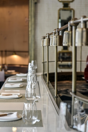 Counter-top dining at Roux at the Landau