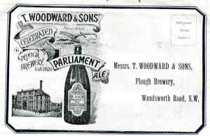 Parliament Ale, brewed by T. Woodward & Sons at the Plough Brewery, London