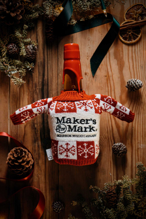 Maker's Mark Bourbon in a Christmas jumper
