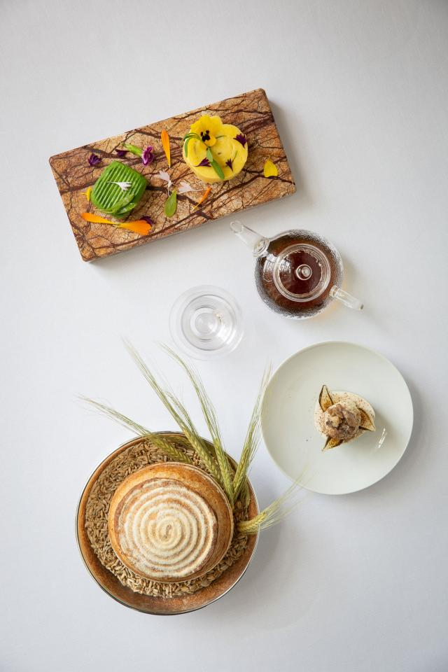 An artful starter at Shaun Rankin's restaurant Grantley Hall, which features foraged produce
