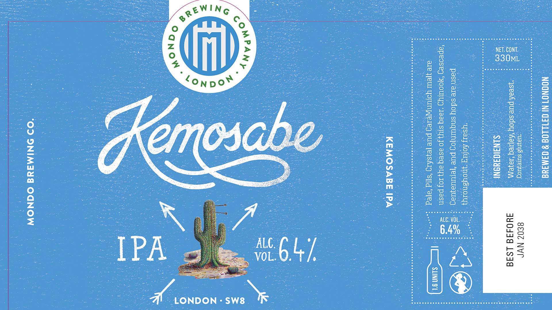 Mondo Brewing's beer bottle labels