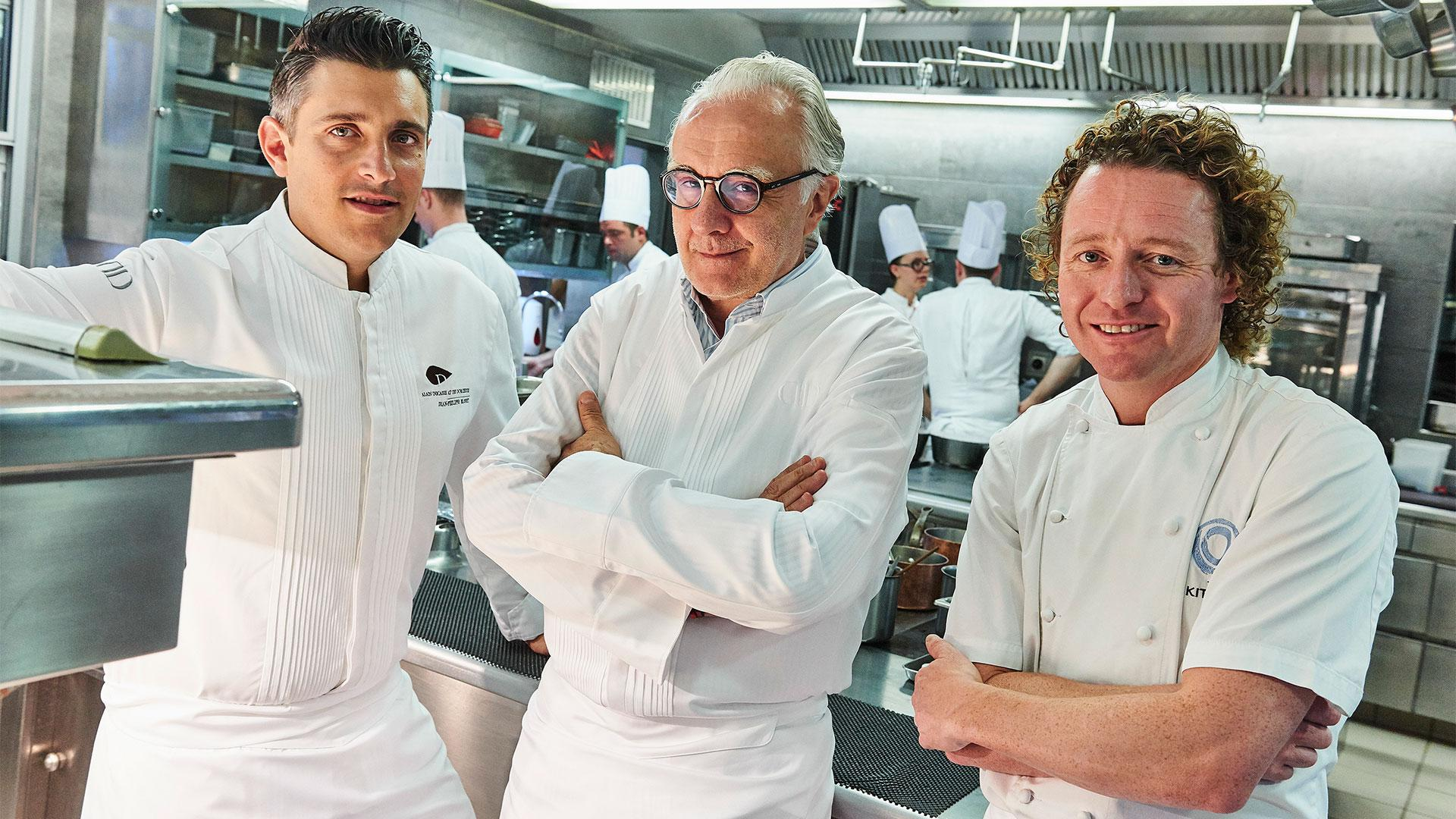 Alain Ducasse in the kitchen at The Dorchester with executive chef Jean-Philippe Blondet and Tom Kitchin