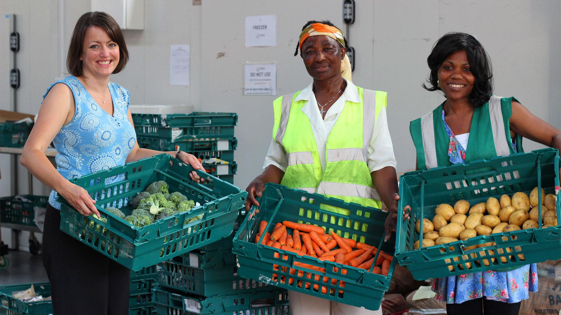 Volunteers at food-waste charity FareShare
