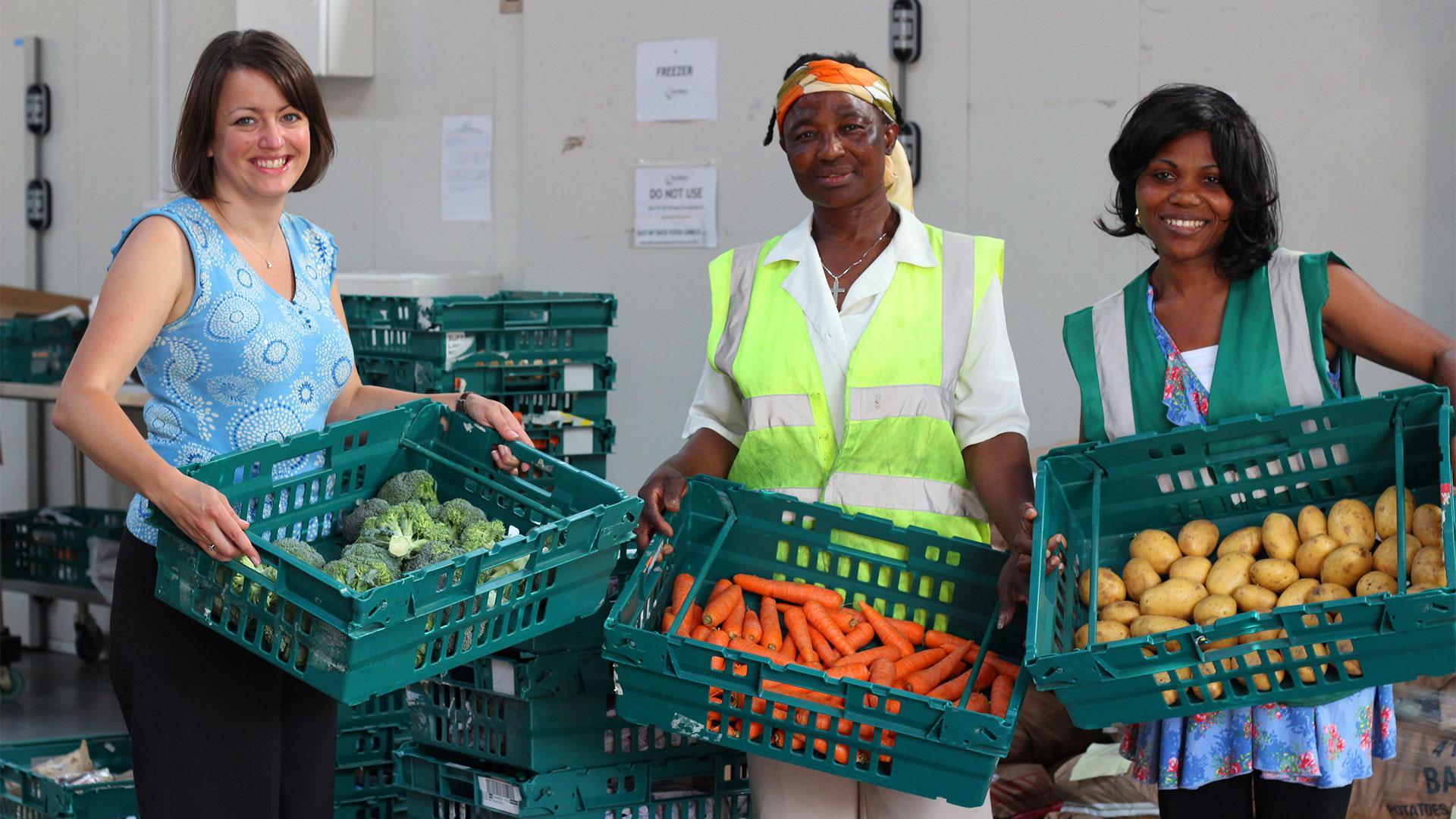 Volunteers at food-waste charity FareShare