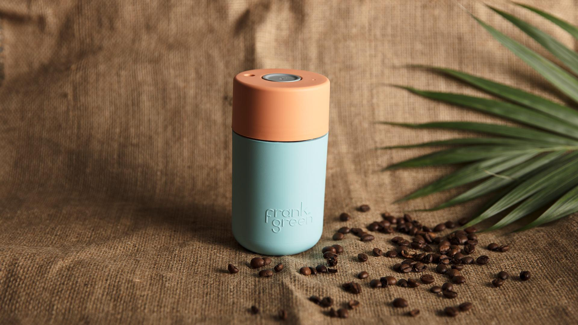 Frank Green's SmartCup in light aqua blue and mid-orange