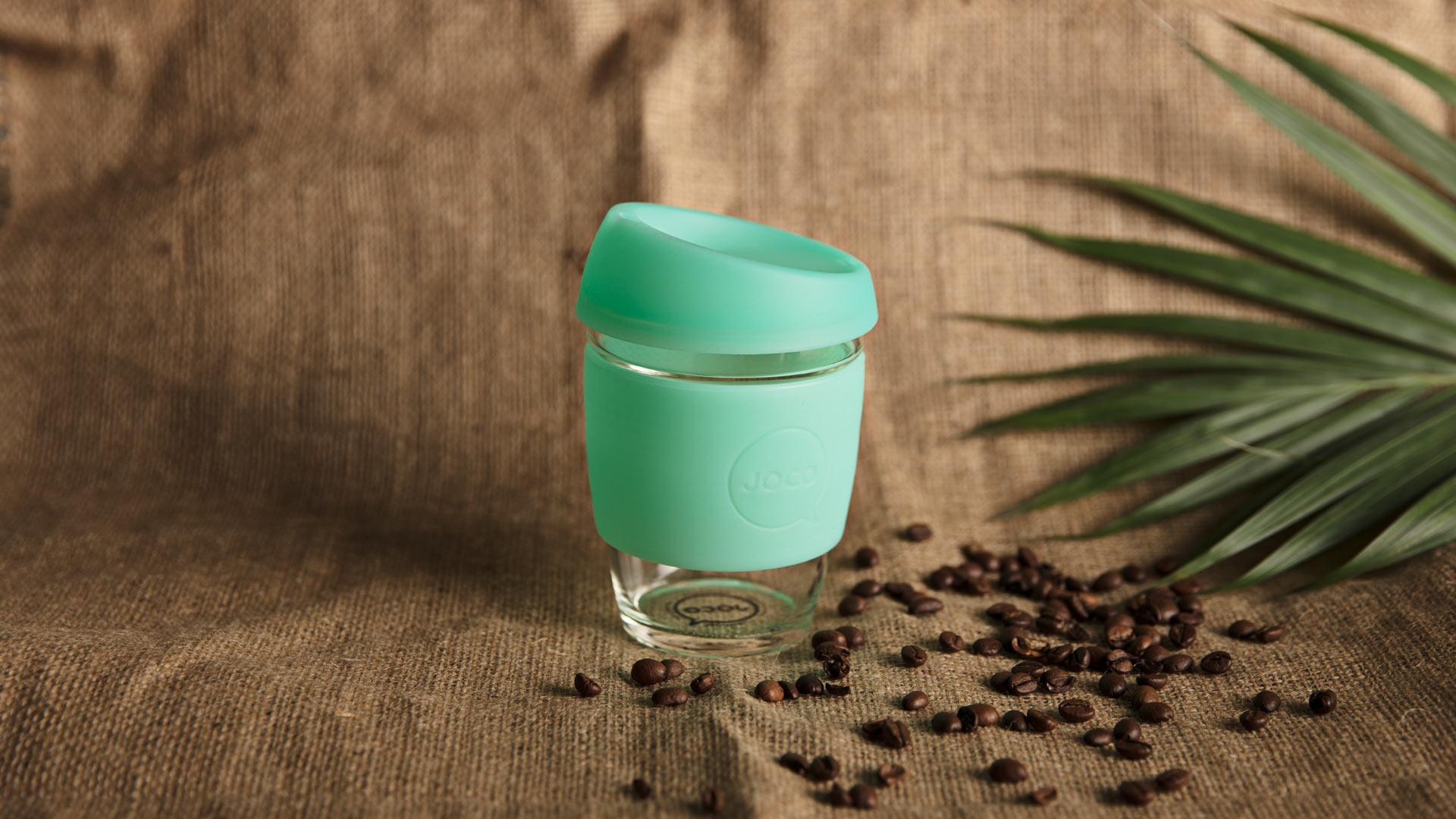 JOCO's reusable seaglass cup in vintage green