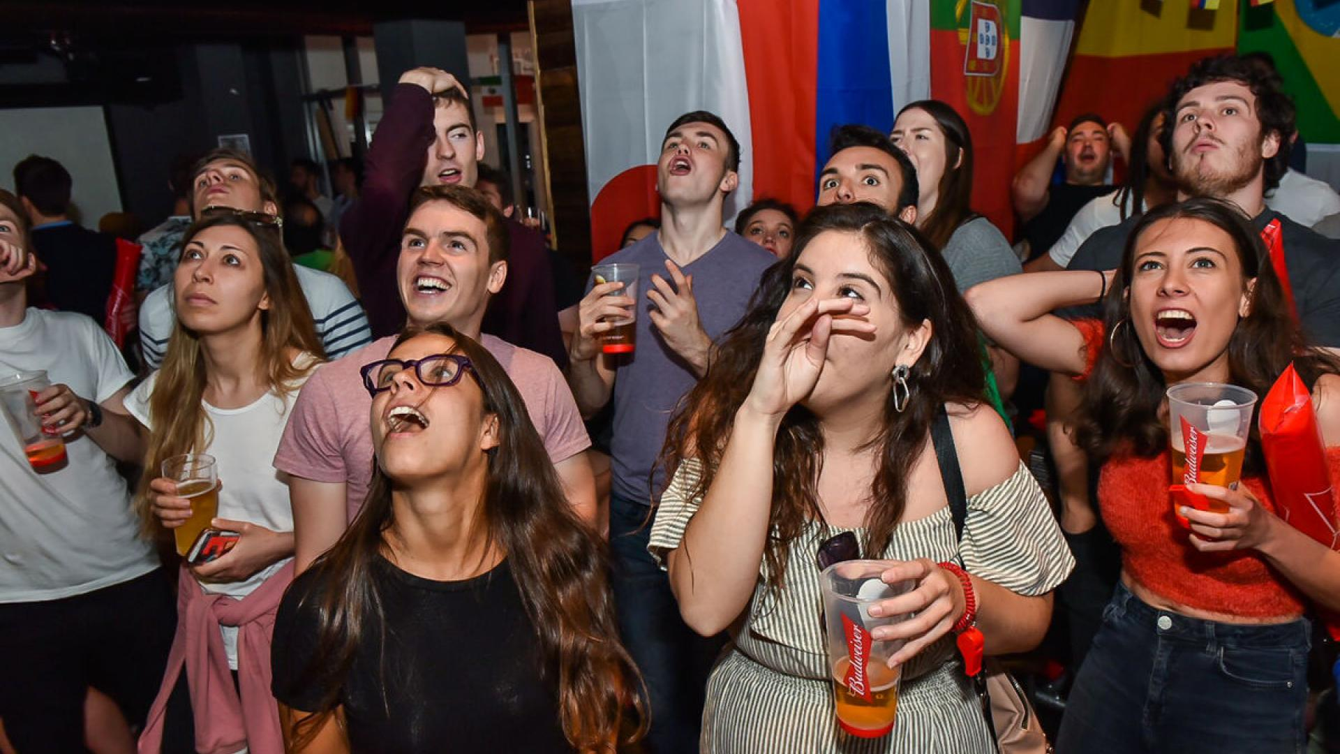 Fans celebrate at Belushi's sports bar