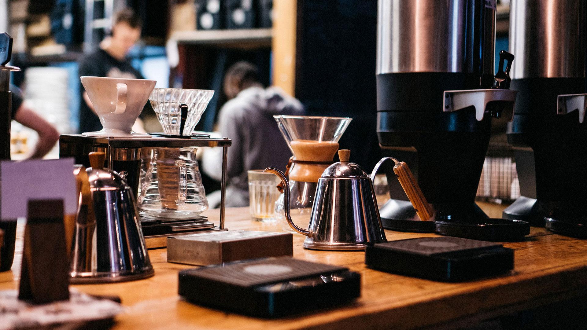 Coffee-brewing kit at Caravan Coffee Roasters