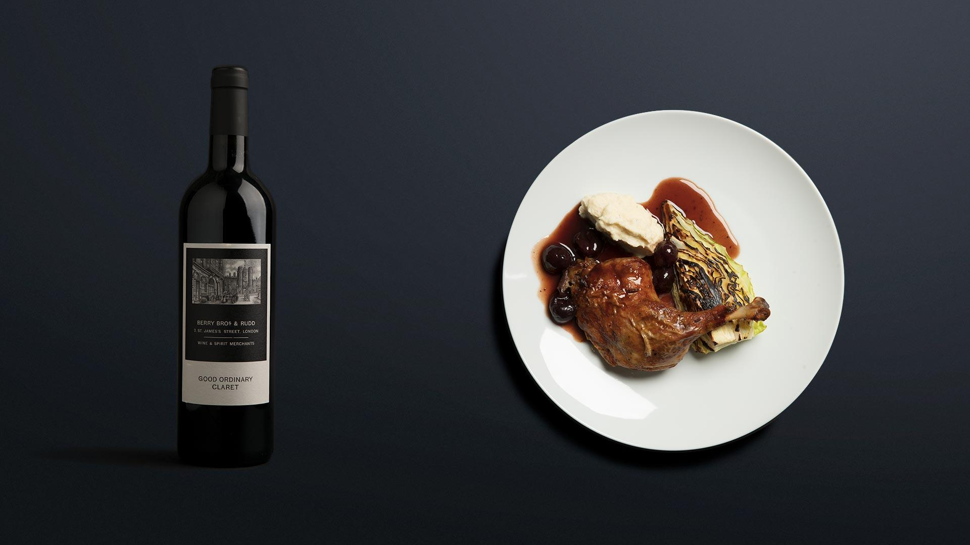 Berry Bros. & Rudd Good Ordinary Claret 2016 with roasted duck and cherries