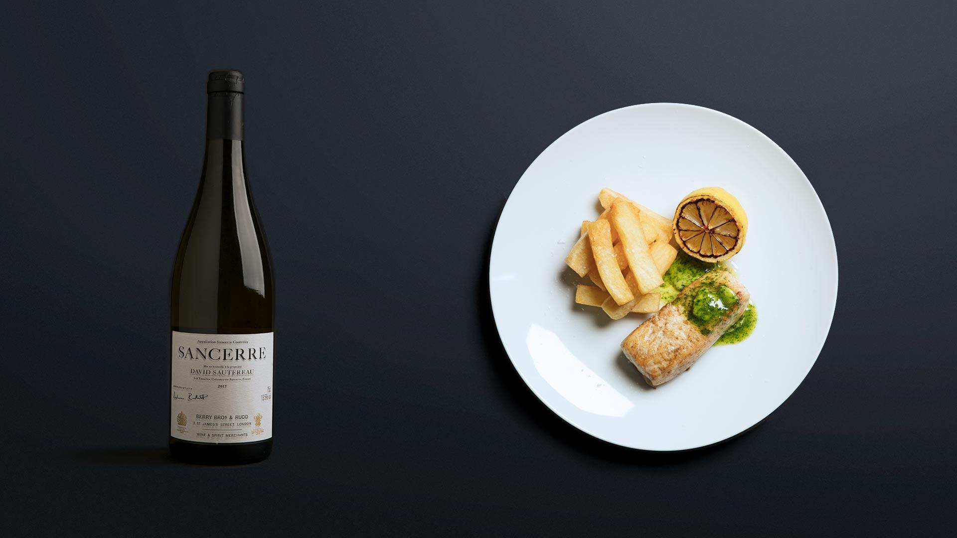 Berry Bros. & Rudd Sancerre 2017 with 'fish and chips'