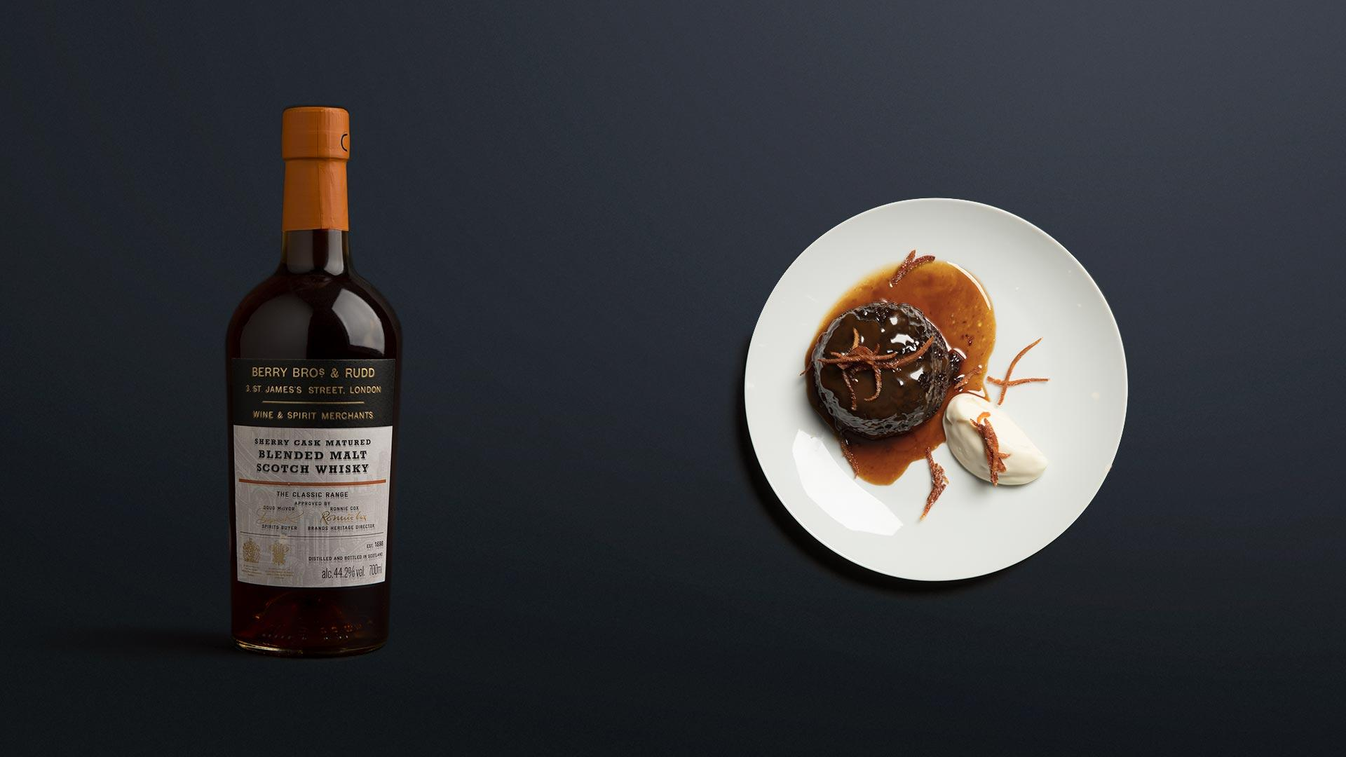 Berry Bros. & Rudd Sherry Cask blended scotch with sticky toffee pudding