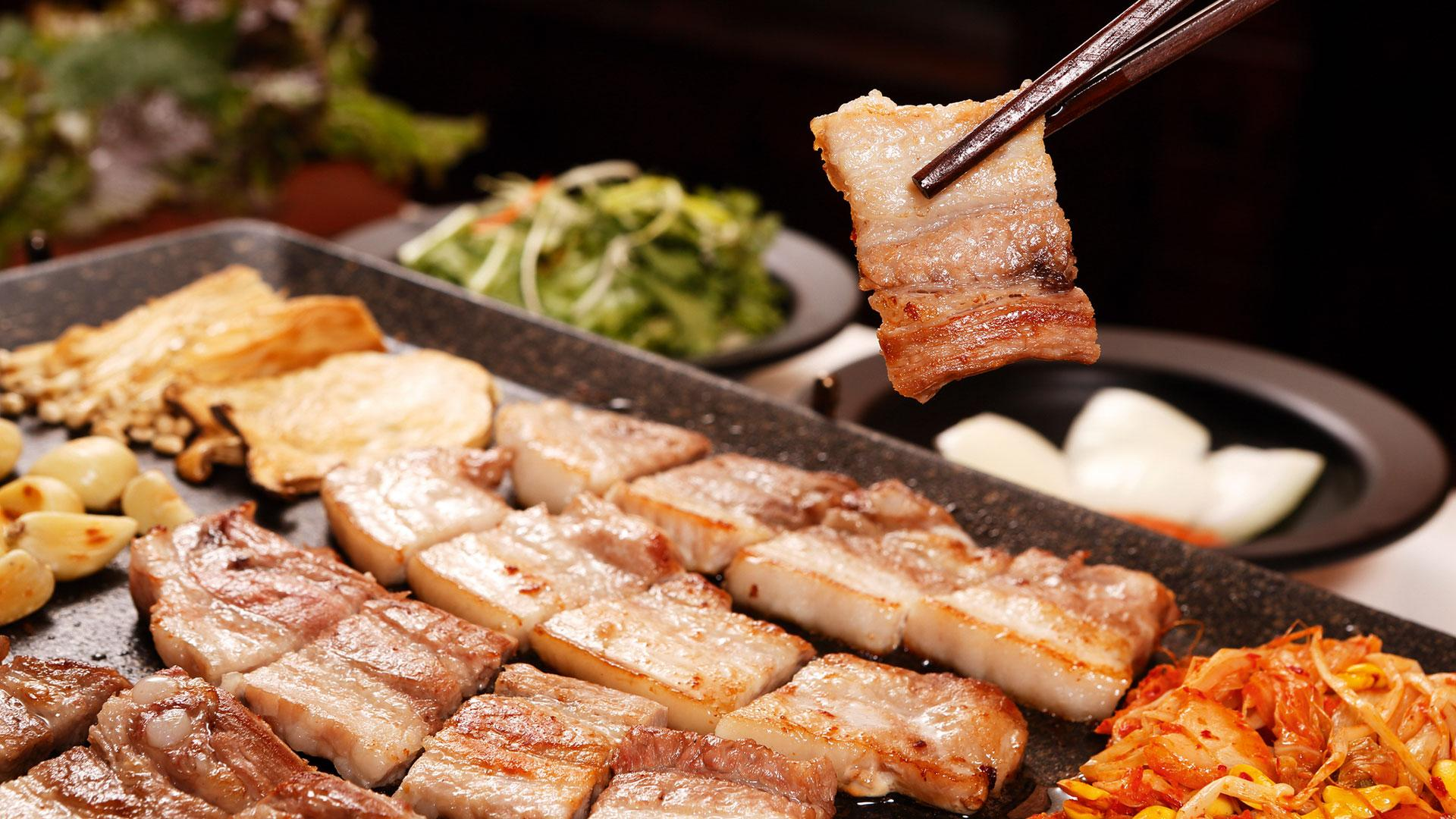 A plate of classic Korean barbecue in Seoul, South Korea