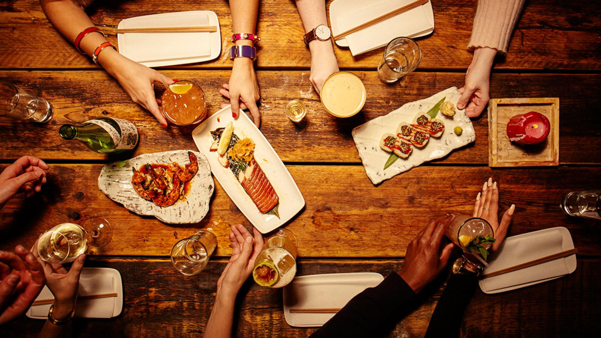 A table of sharing plates at Kurobuta