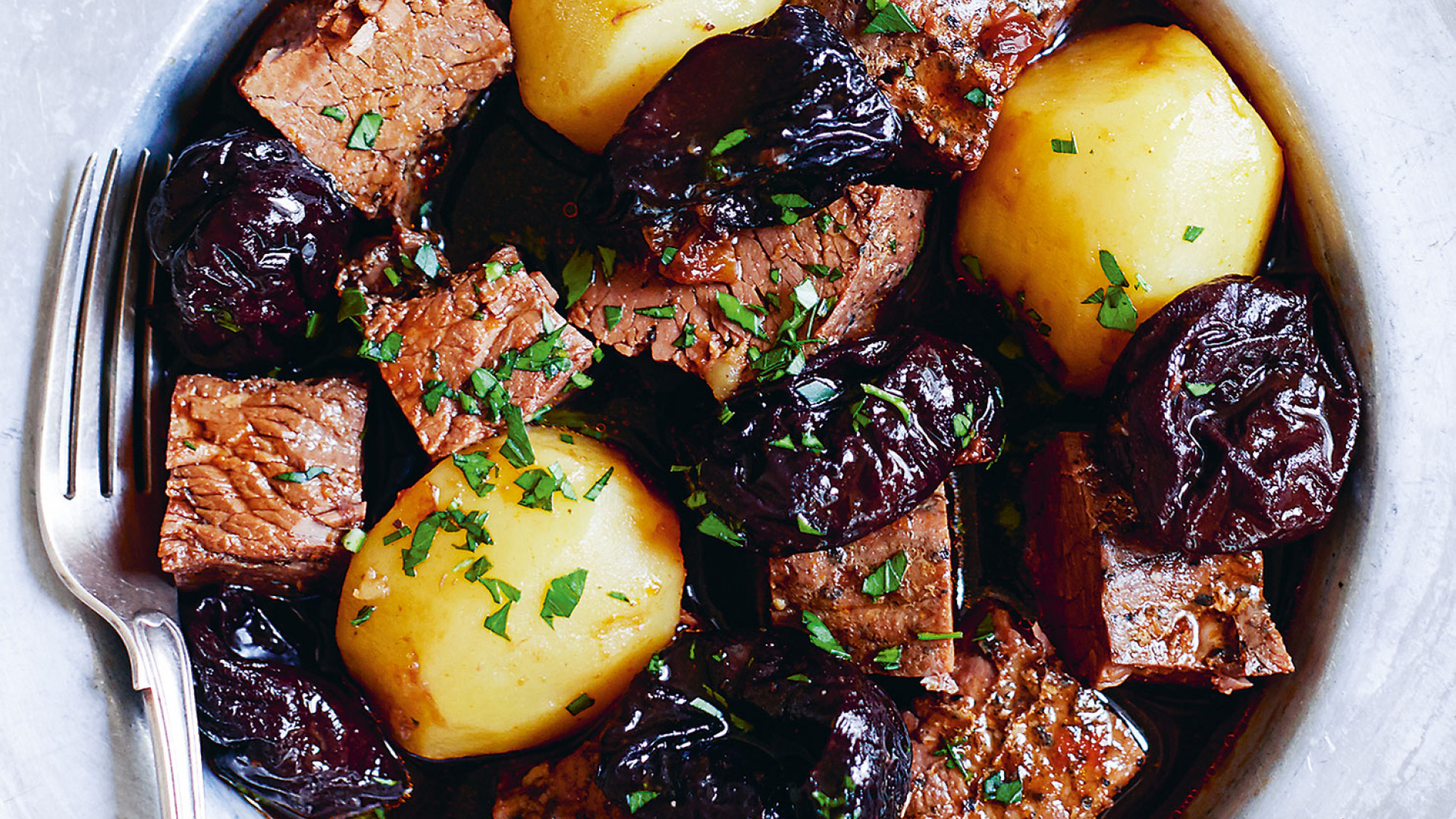 chunks of beef with meltingly-soft prunes