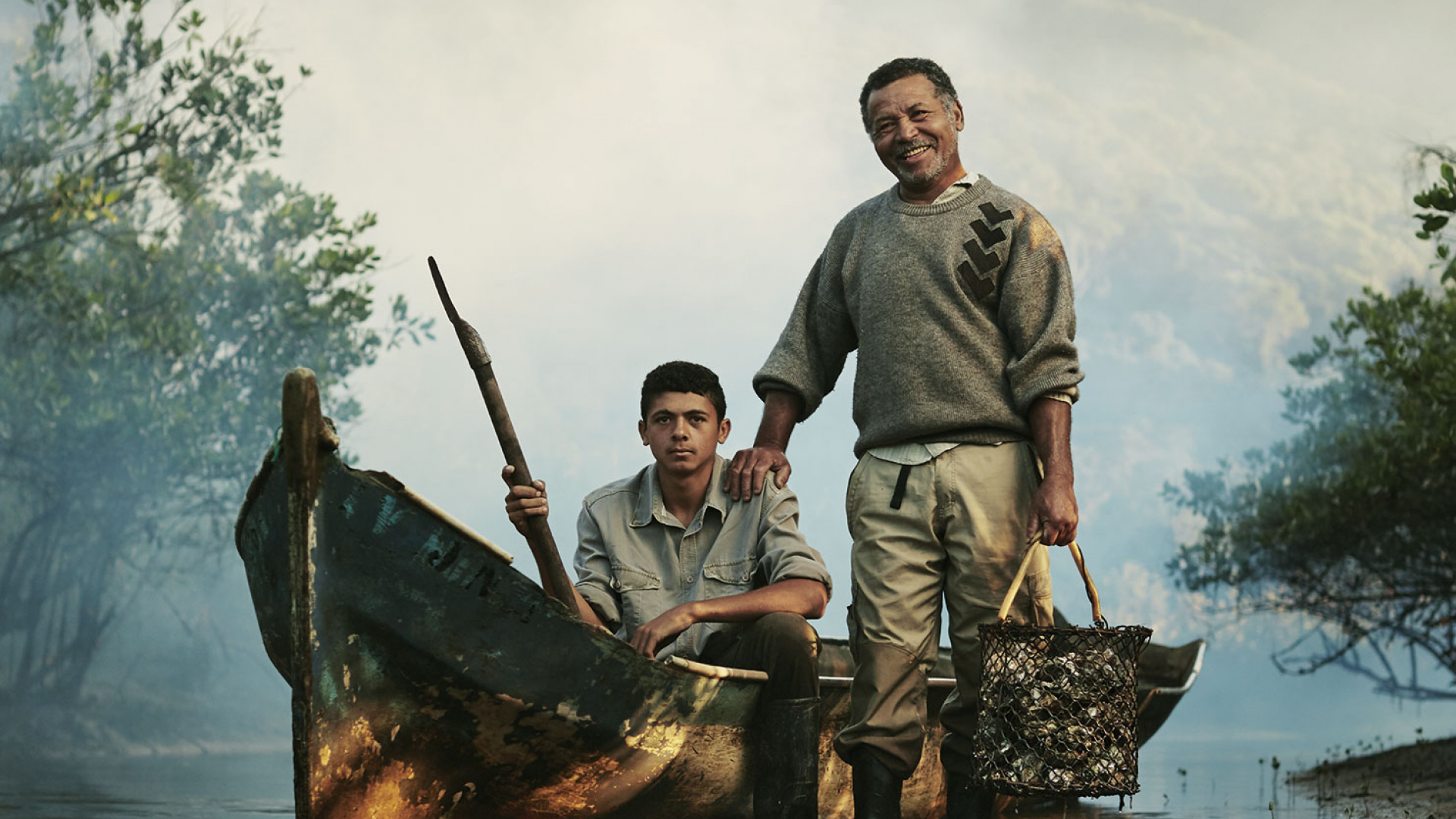 A father and son farming oysters in Brazil