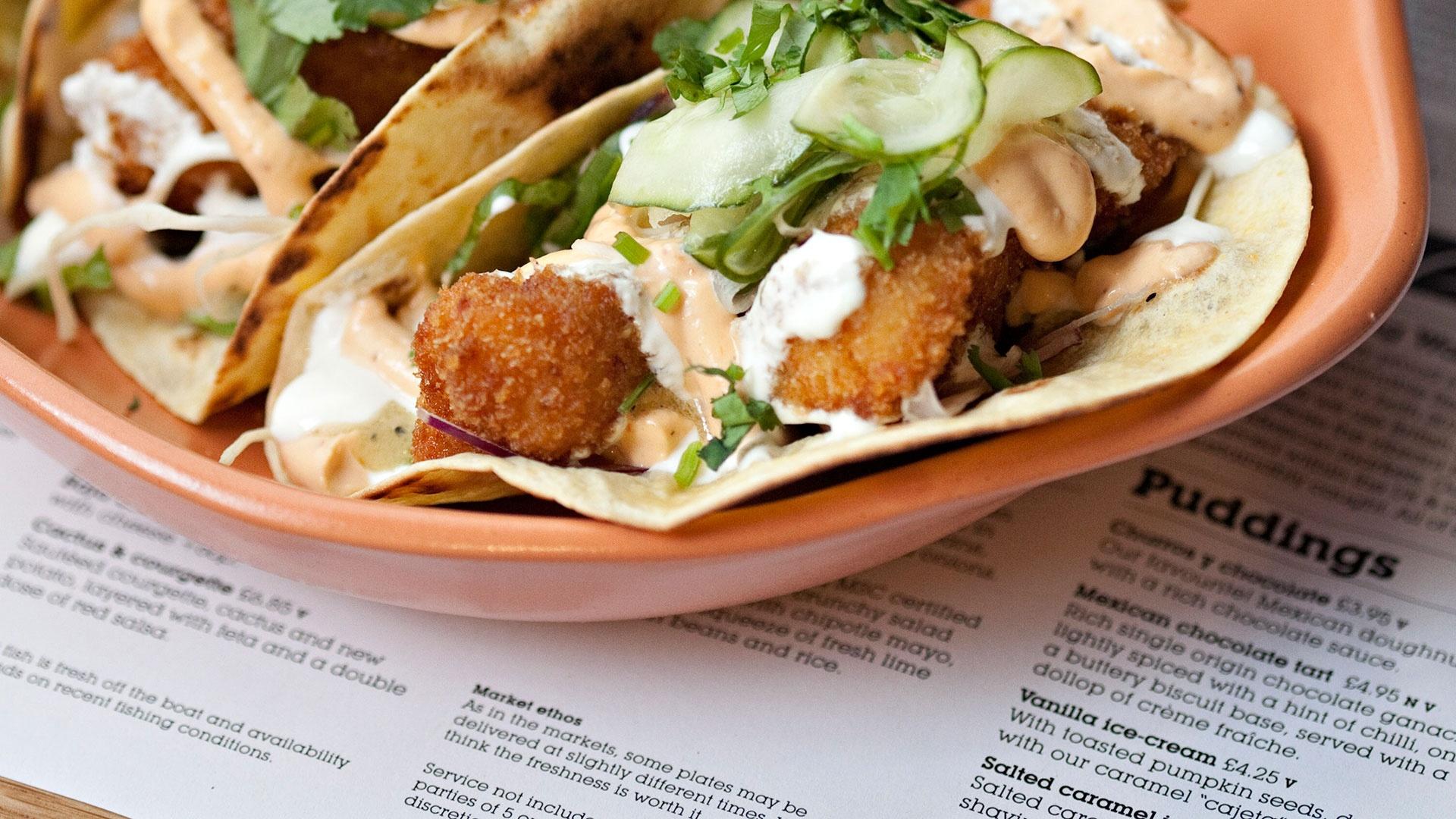 Wahaca's Bajan fish tacos