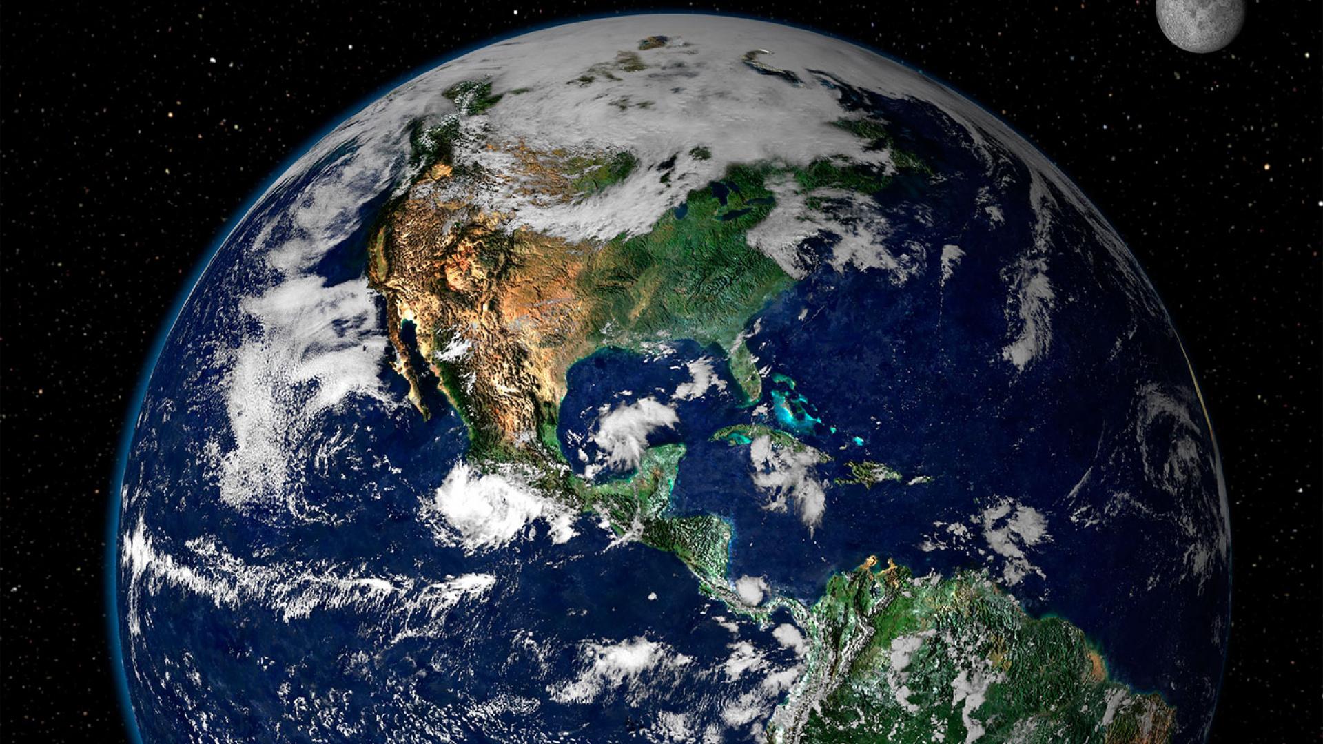 A shot of the Earth from space, via NASA/GSFC/Reto Stöckli, Nazmi El Saleous, and Marit Jentoft-Nilsen