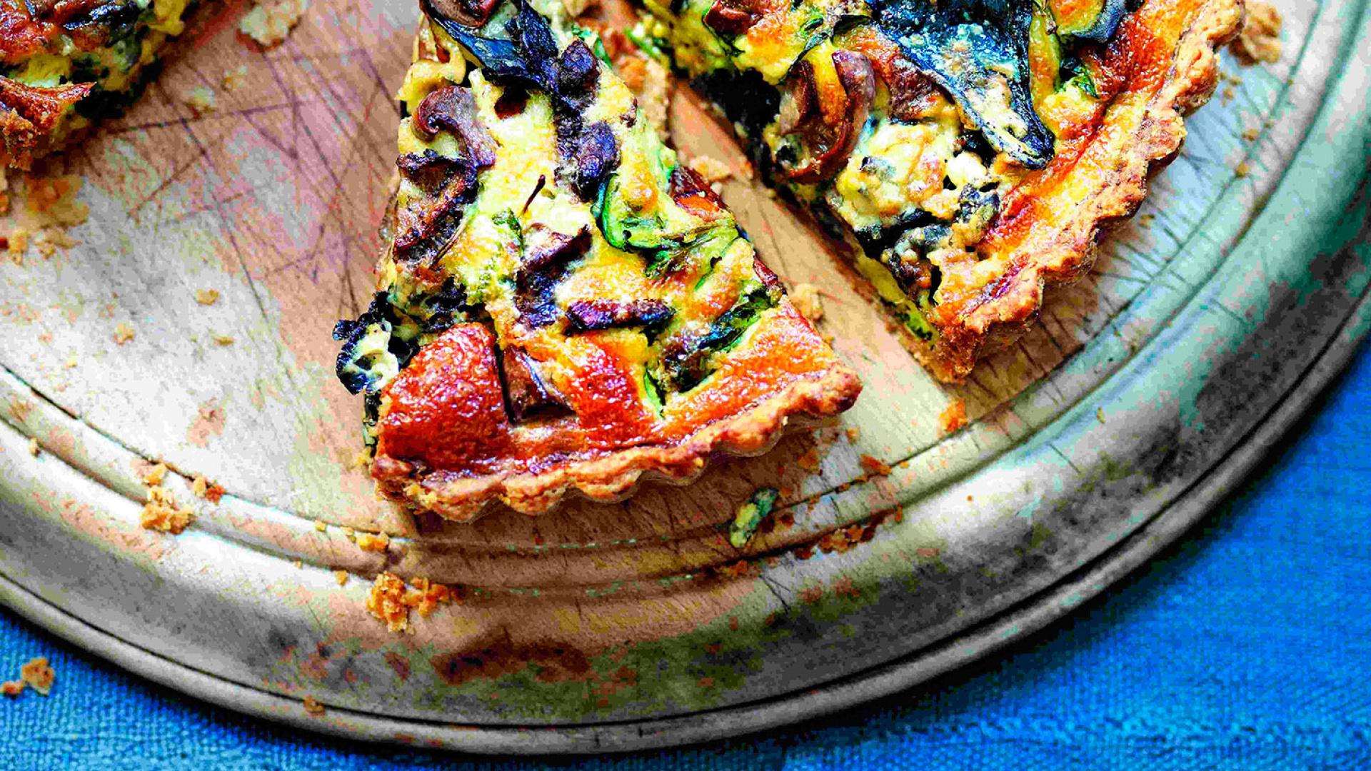 Jose Pizarro's wild mushroom and blue cheese tart