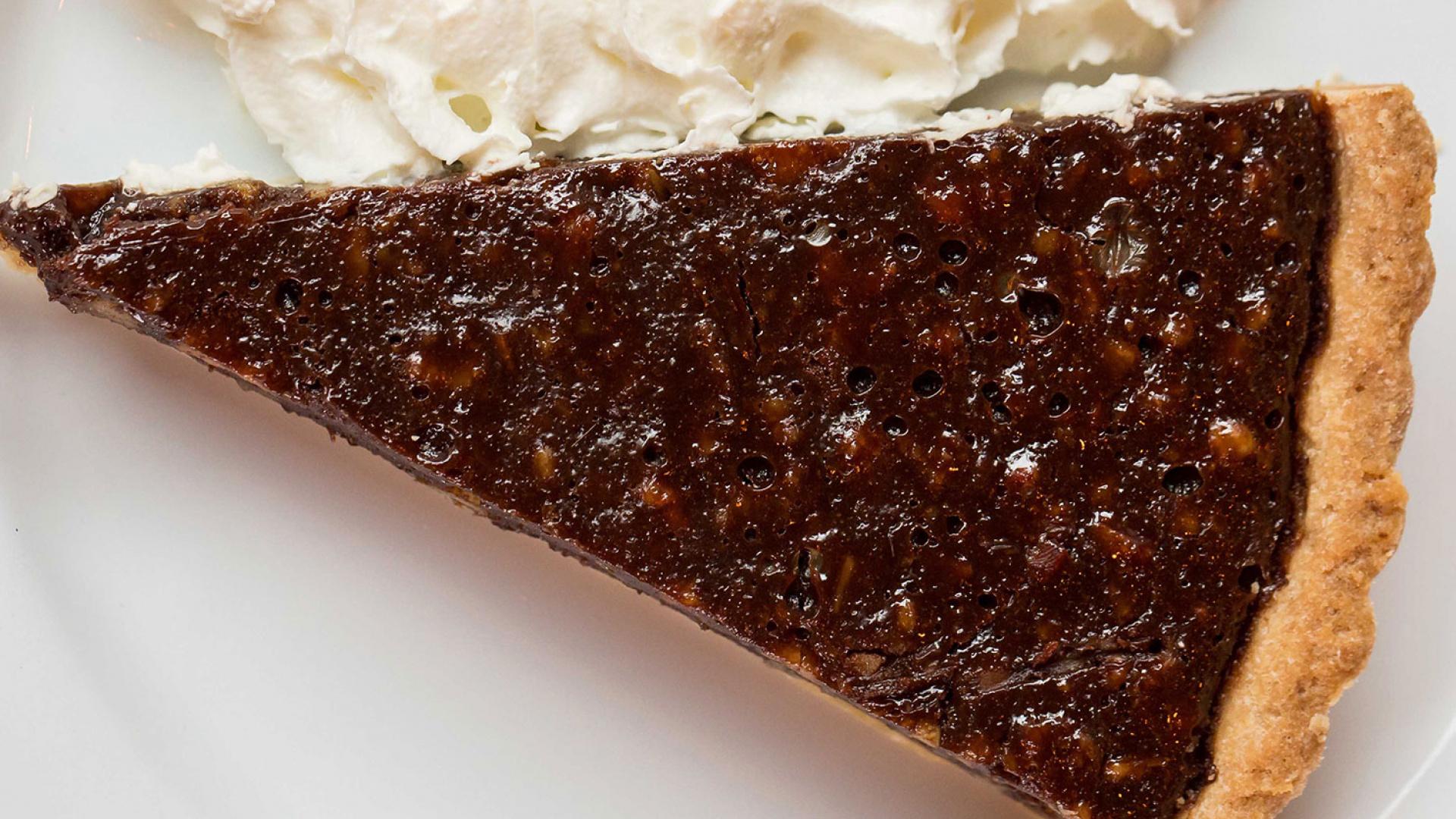 Porky's chocolate and pecan pork pie