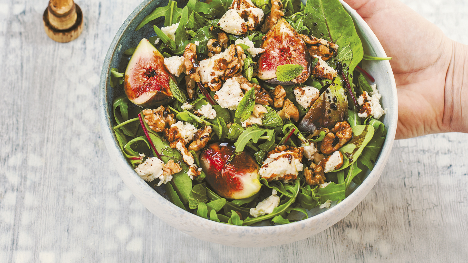 Sabrina Ghayour's fig, fresh pecorino and walnut salad