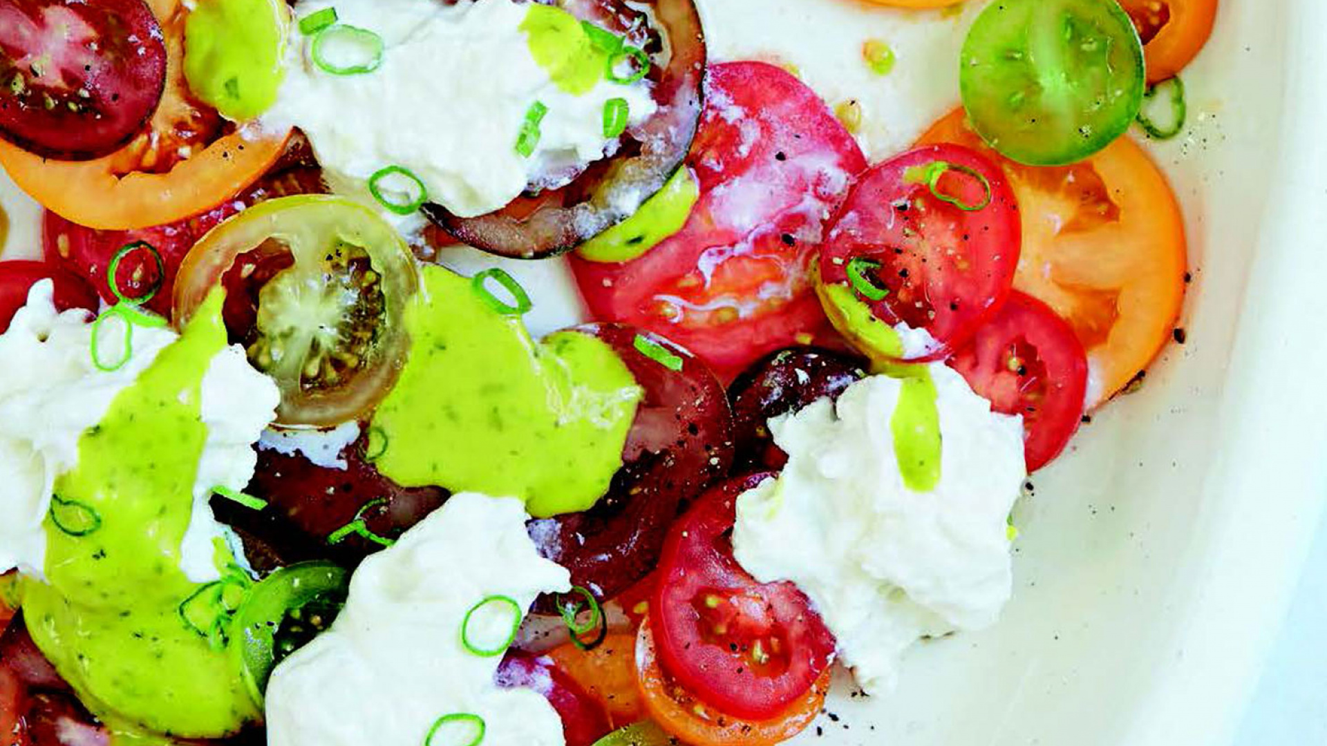 Peter Gordon's burrata and tomato salad with mango dressing