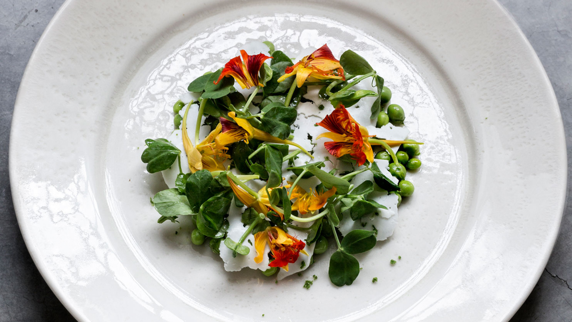 James Lowe's recipe for pea and Ticklemore salad at Harvey Nichols