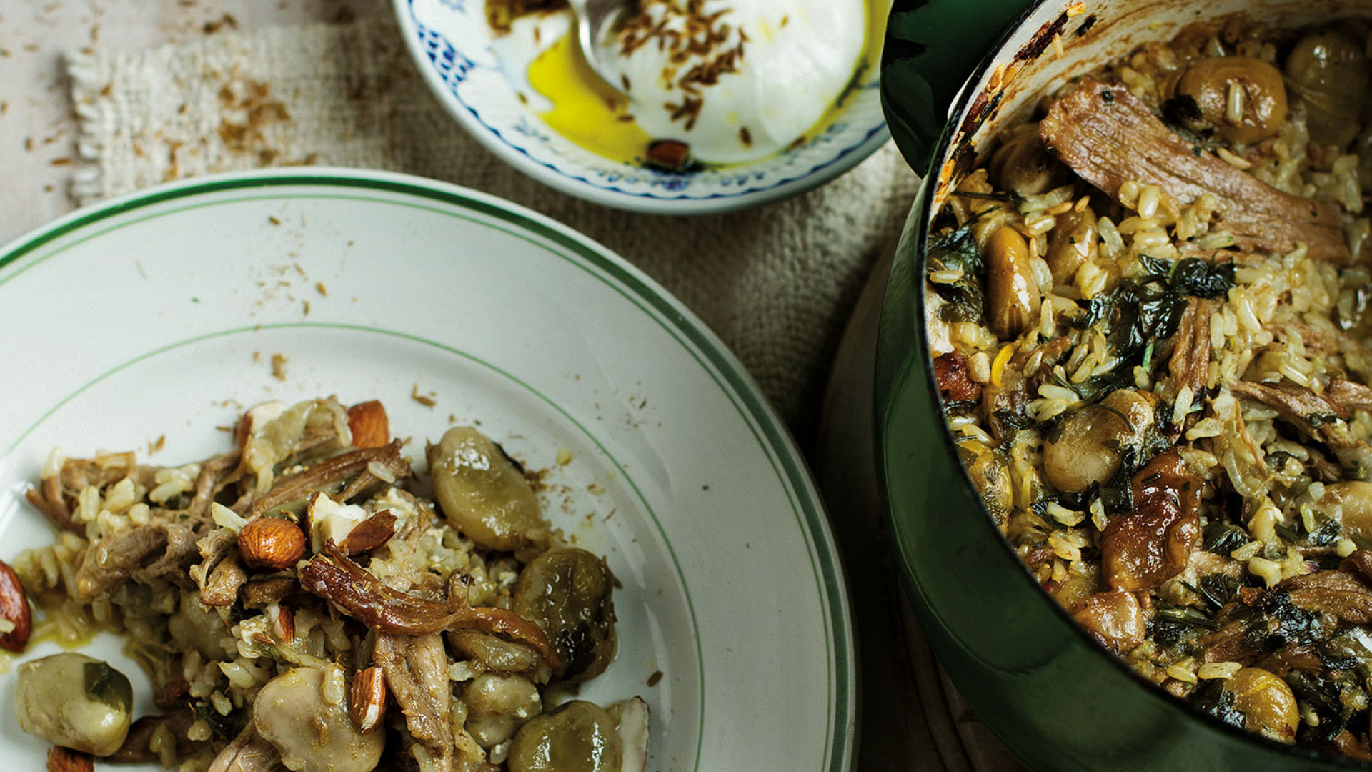 Tom Hunt's broad bean and lamb pilaf with seasoned yoghurt (photograph by Laura Edwards)