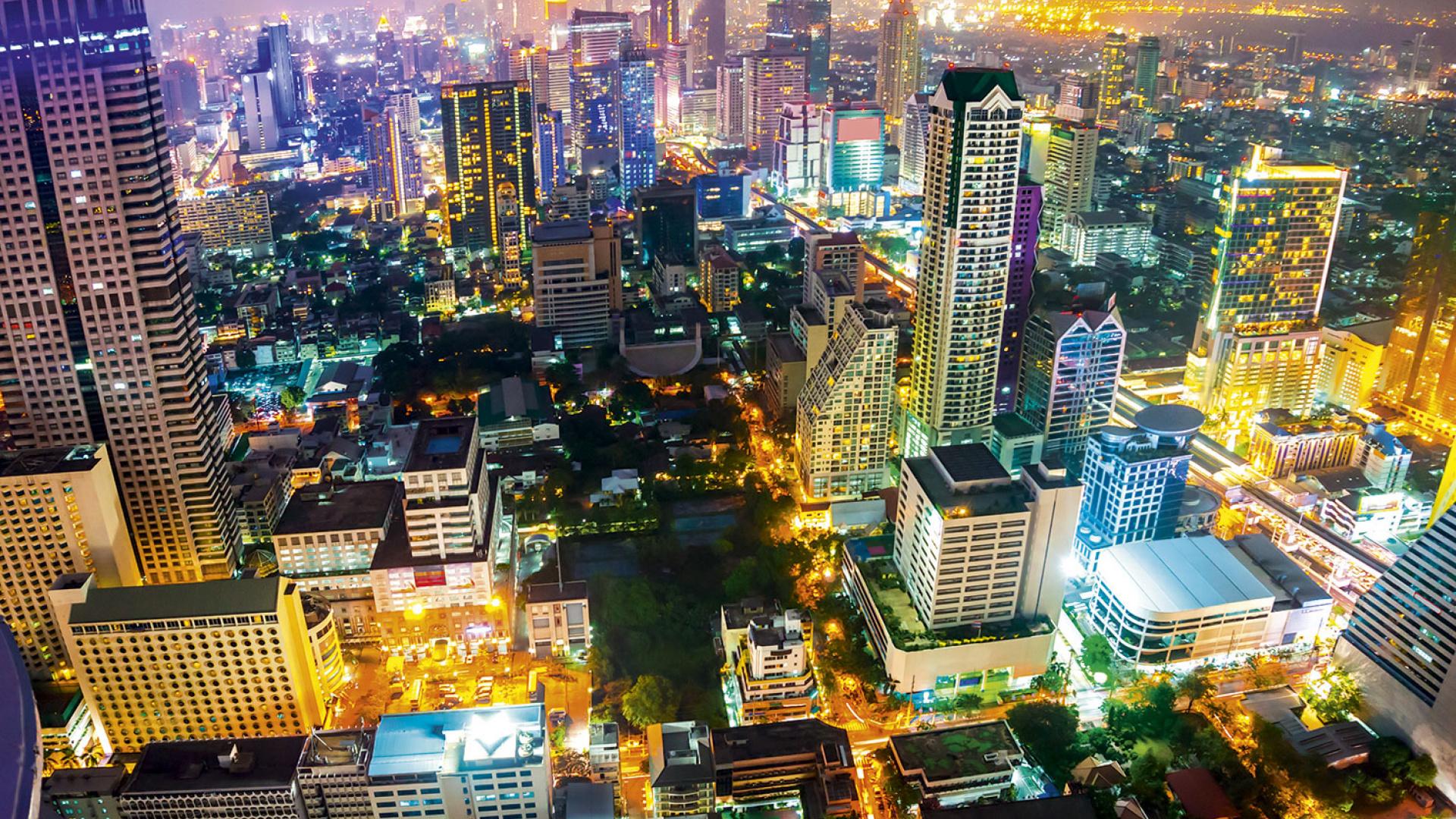 Bangkok at night. Photograph from Shutterstock