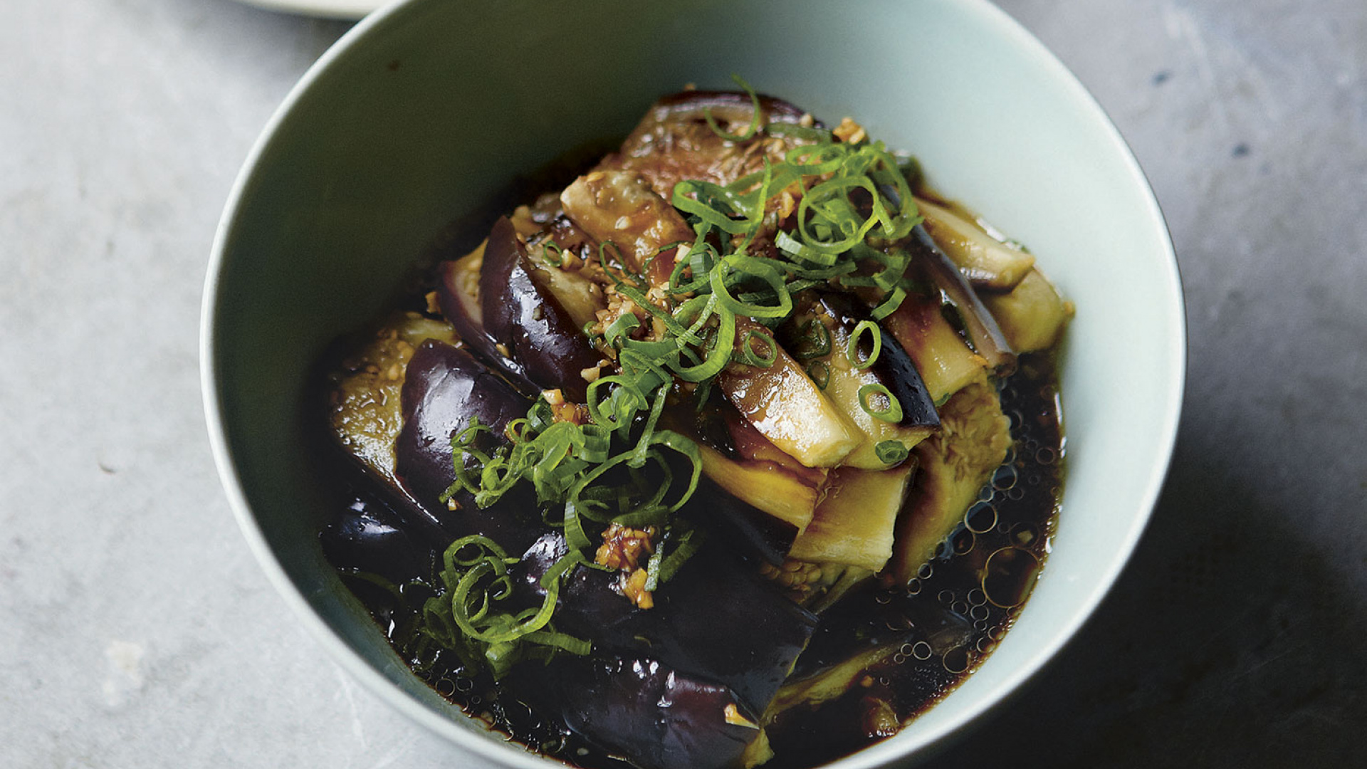 Cool-steamed aubergine. Photography by Yuki Sugiura