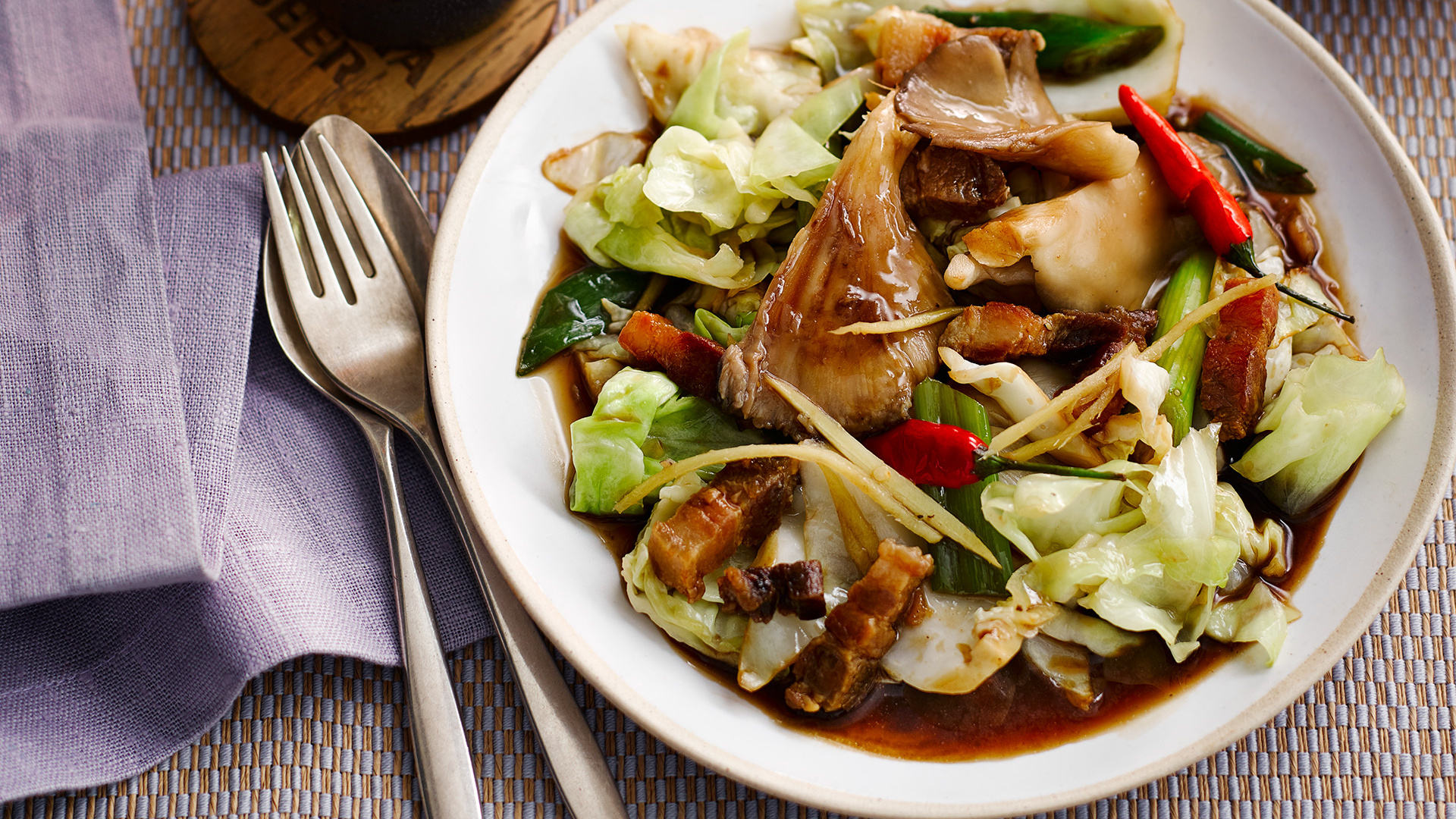 Andy Oliver's stir-fried hispi cabbage with oyster mushrooms and pork