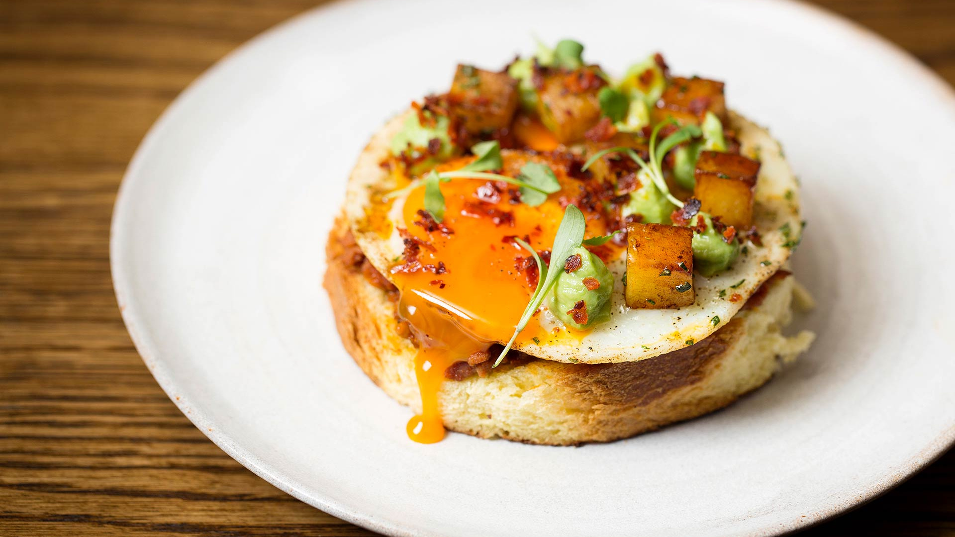 Eggs, chorizo jam and avocado on brioche at Social Wine & Tapas