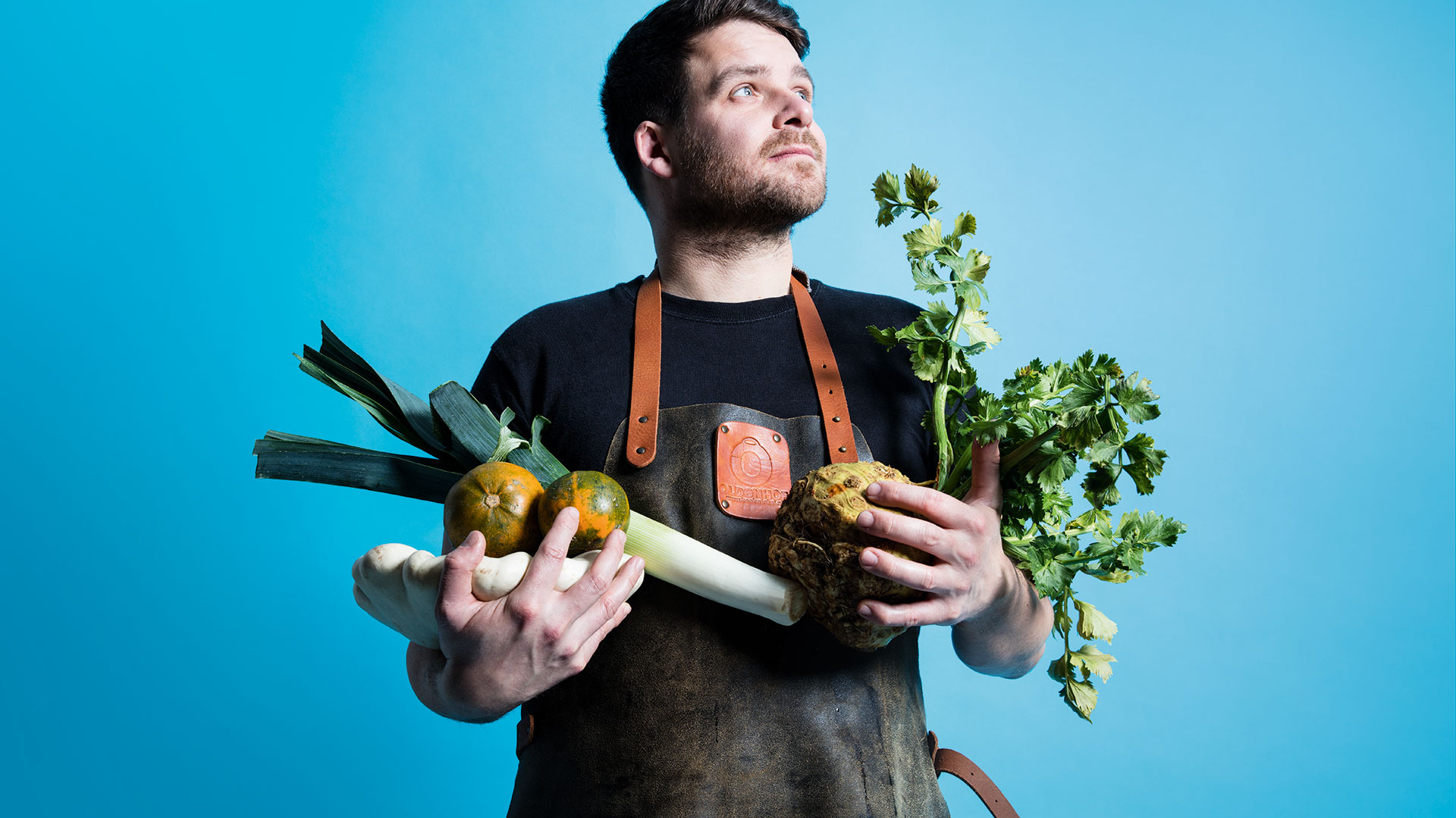 Tom Hunt with a selection of winter vegetables. Photograph by David Harrison