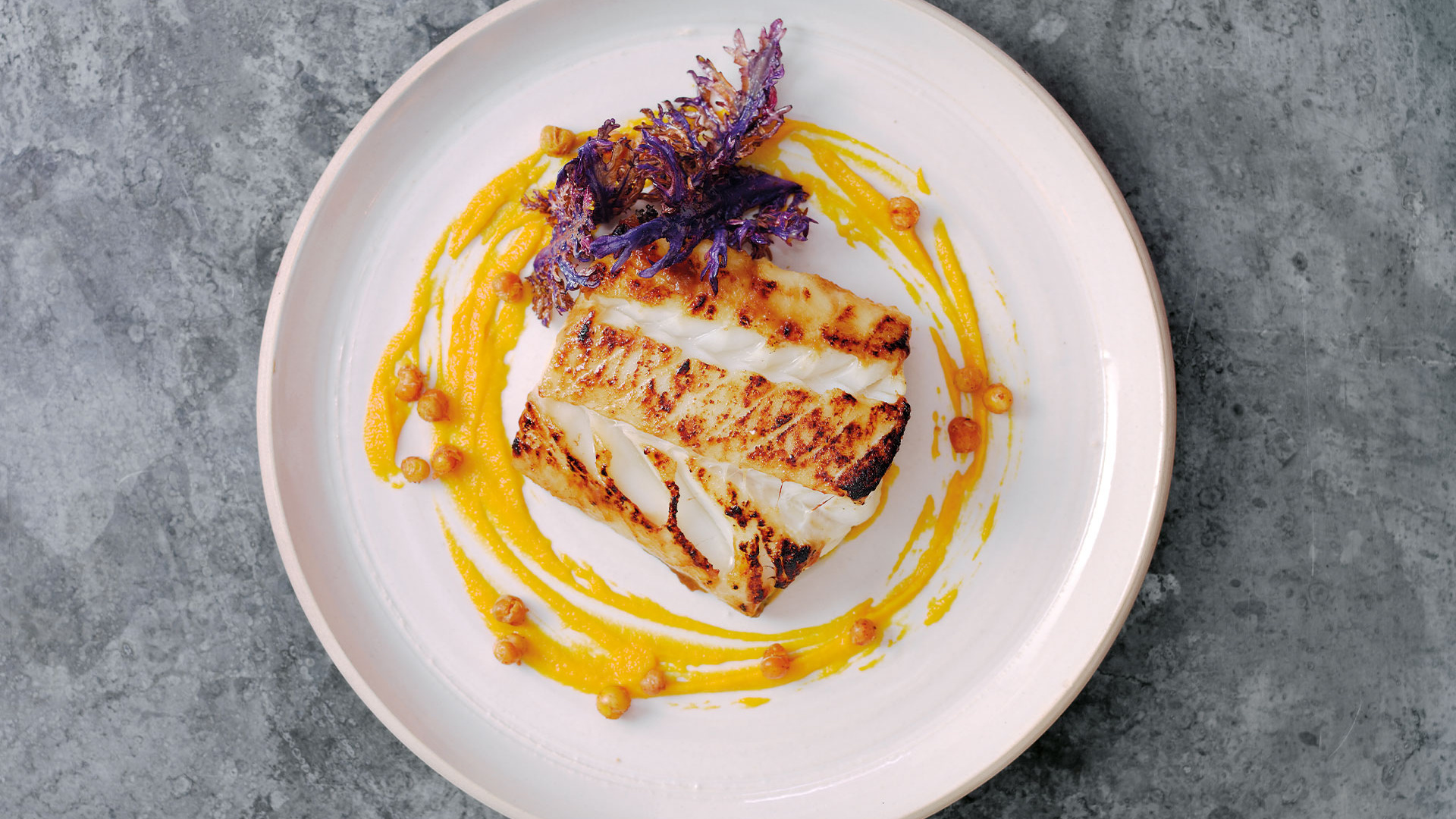 Michel Roux Jr's miso-glazed Skrei, carrot and ginger purée and crispy kale