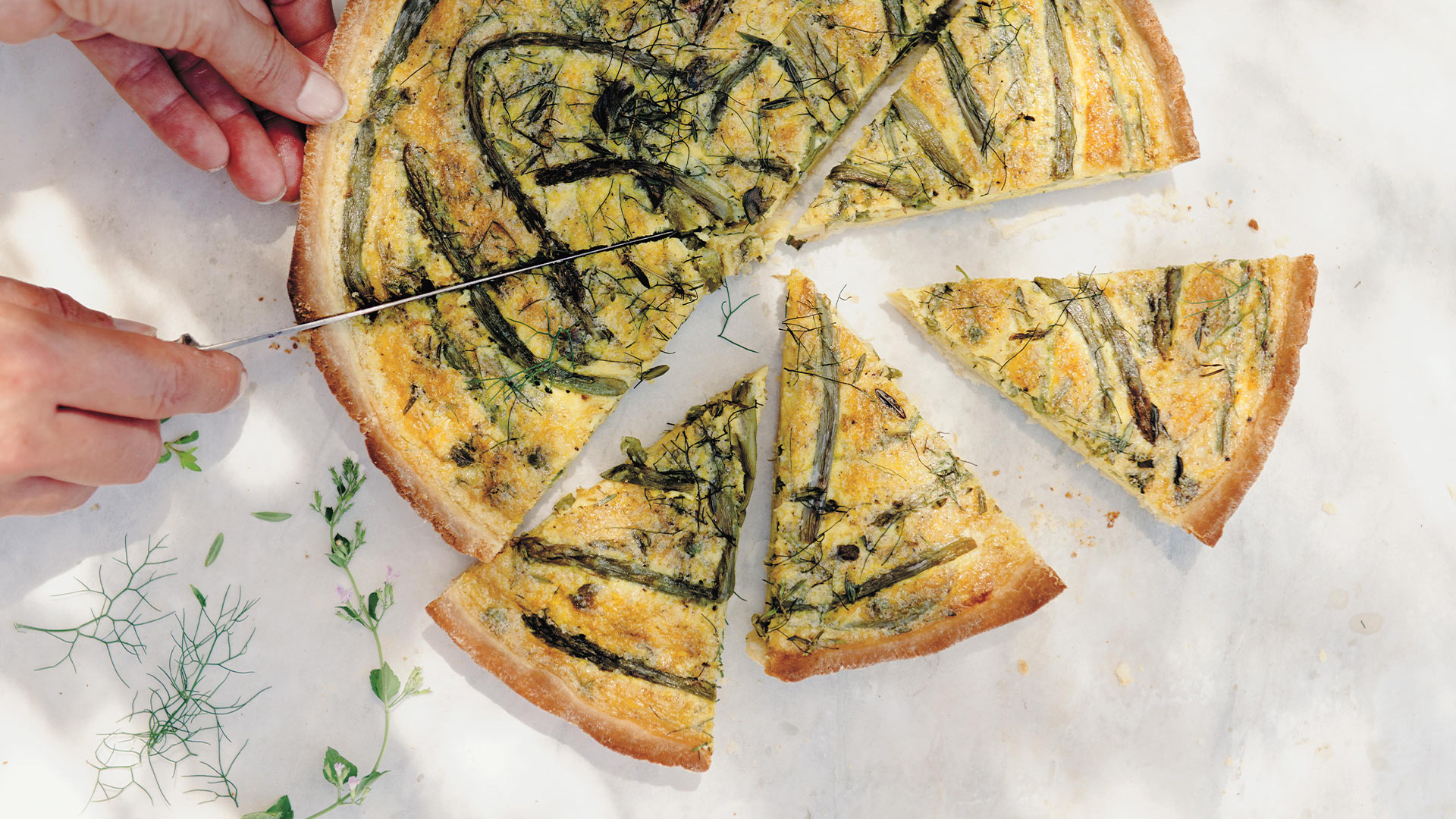 Wild asparagus and herb tart, inspired by Tuscan cooking