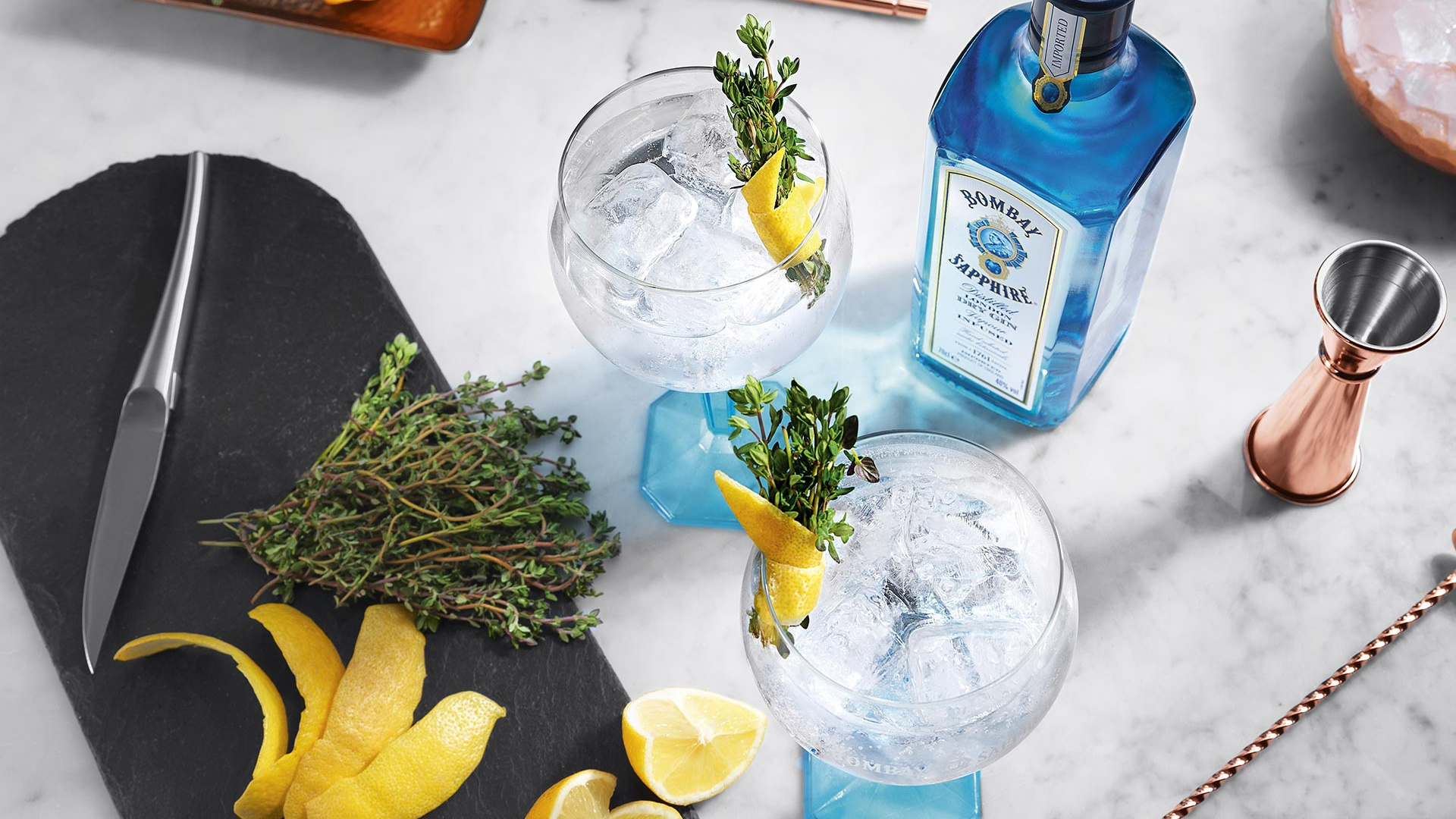 Bombay Sapphire gin and tonic with garnish
