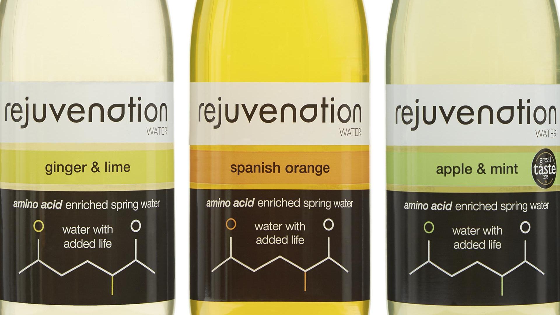 Bottles of Rejuvenation water amino acid-enriched drink