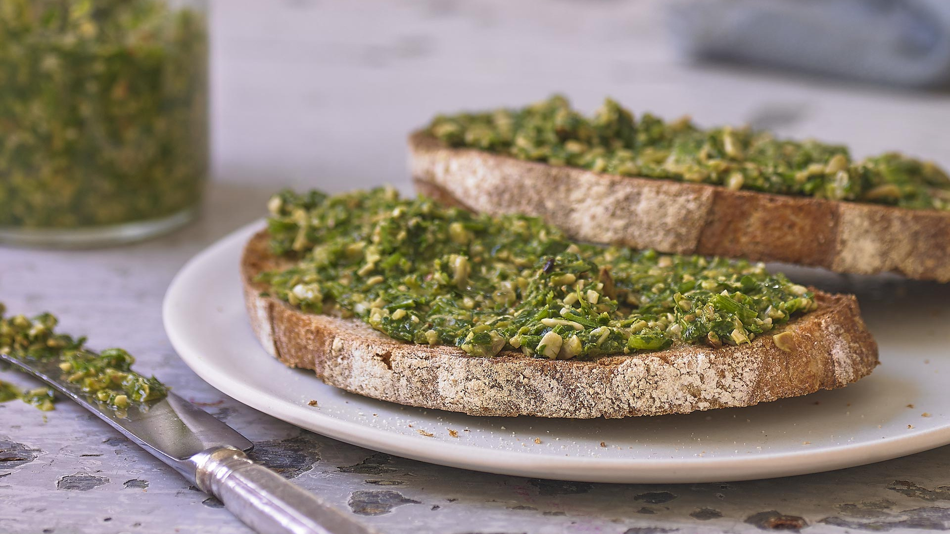 Alexandra Dudley's poorman's sunflower seed pesto; Photograph by Andrew Burton