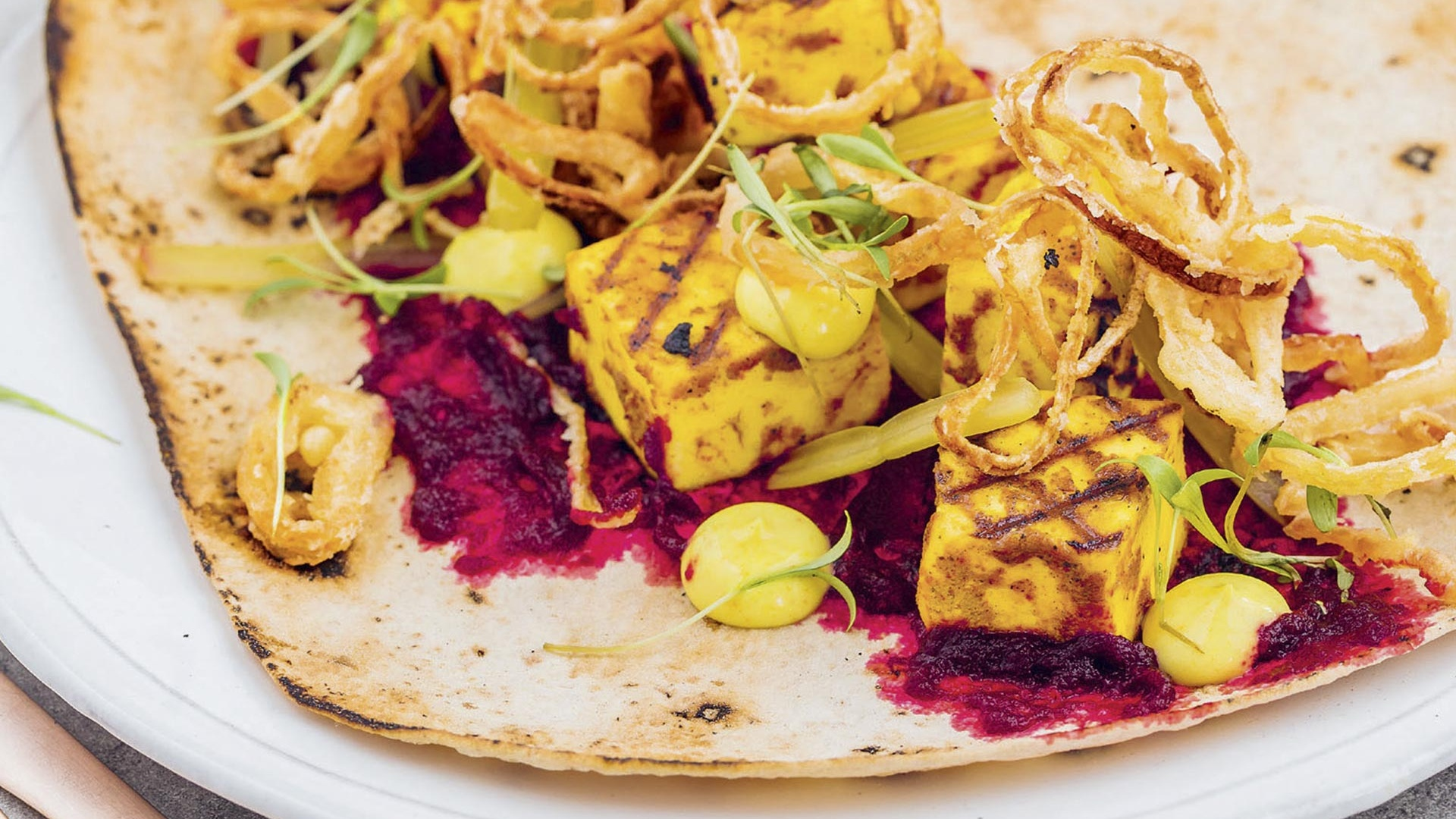 Make Le Bab's paneer kebab with beetroot purée, pickled chard and crispy shallot rings