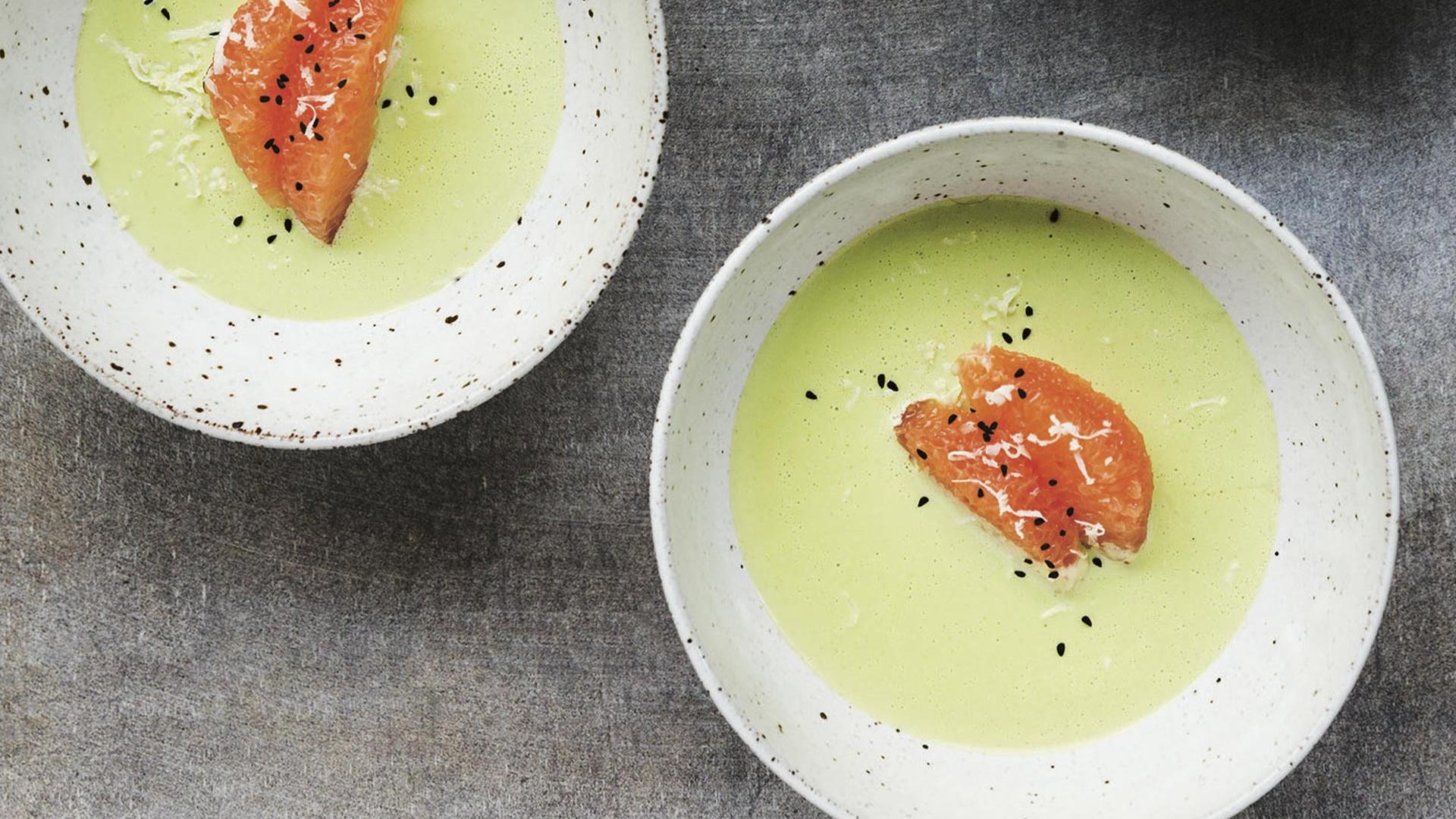 Bäco's creamy romanesco soup with grapefruit, nigella, and fresh horseradish; photography by Dylan + Jeni