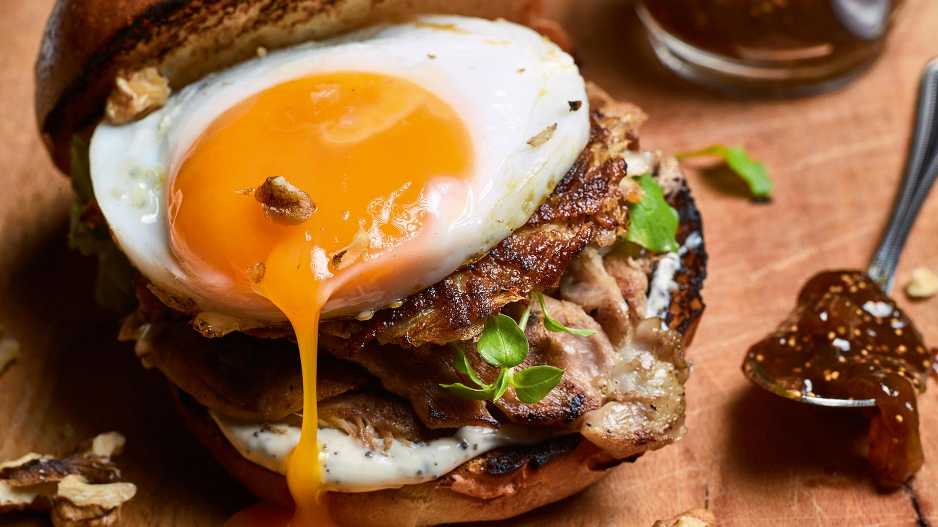 John Quilter's leftover turkey burger with fig jam; Photograph by Chris Terry