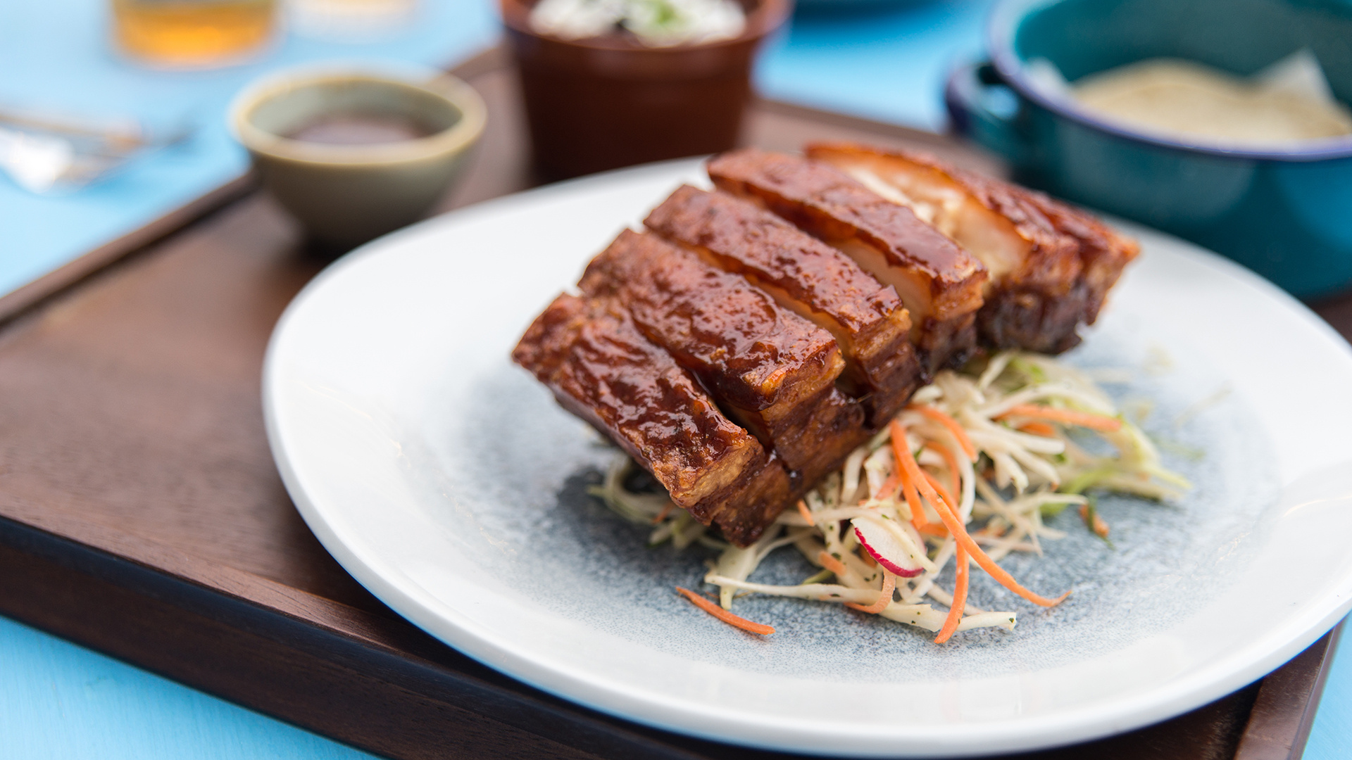 Pork belly tacos with tamarind-chipotle glaze; Photograph: Cat Byers