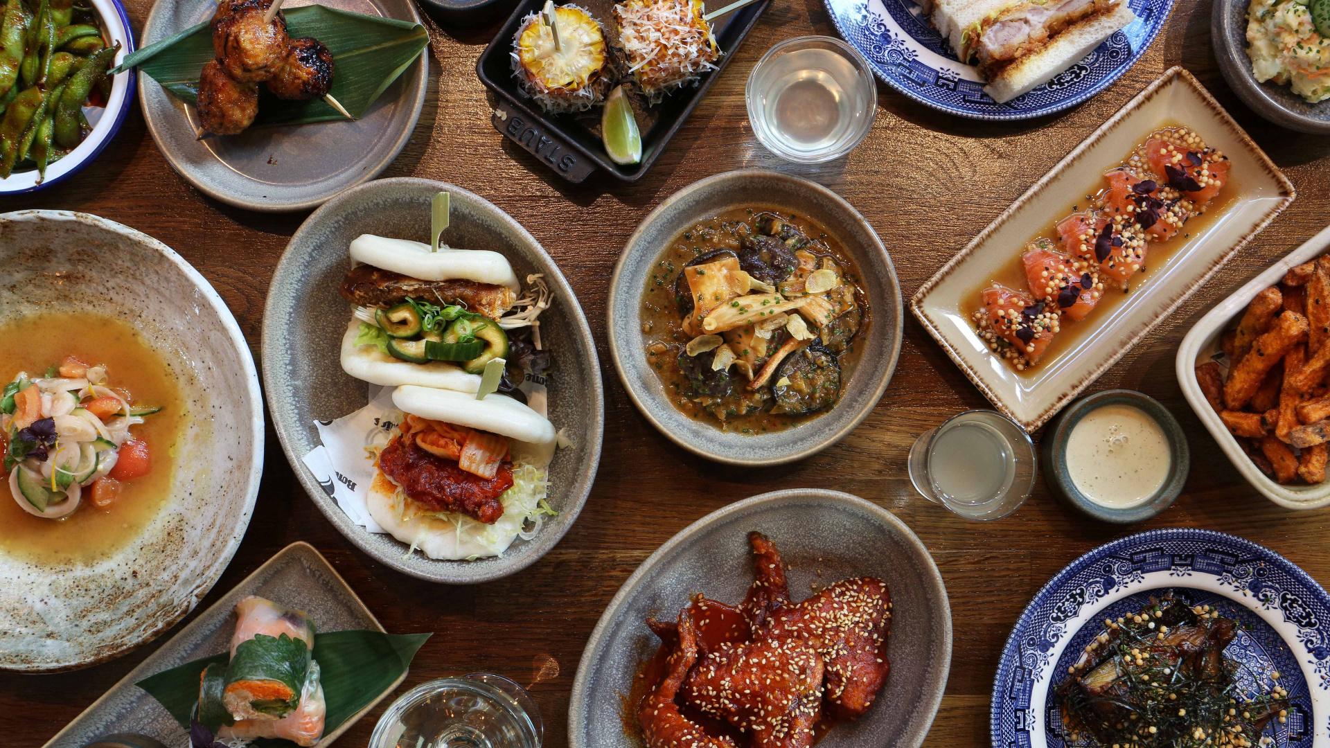 A brunch spread at Japanese-inspired restaurant Shackfuyu