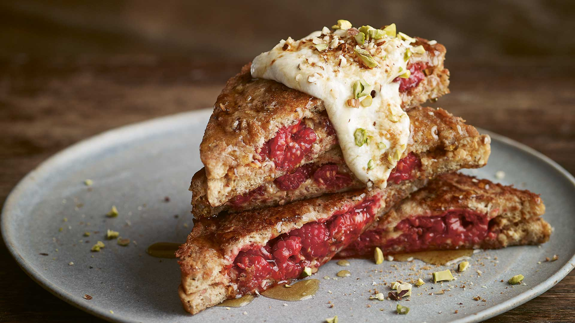 Smashed raspberry and almond butter vegan French Toast; photography: Nassima Rothacker