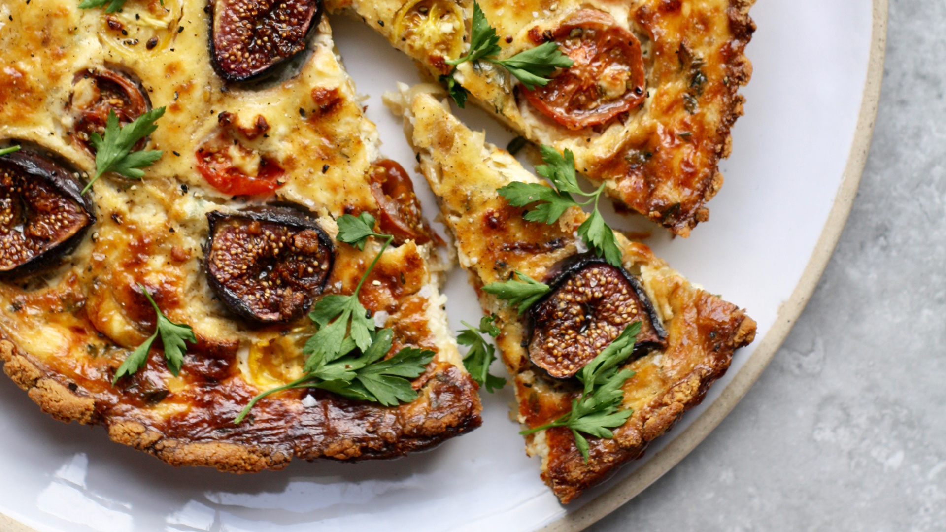 Fig, feta and almond tart